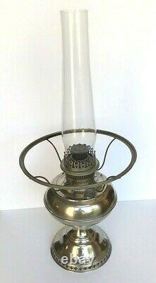 ANTIQUE RAYO KEROSENE OIL LAMP FOOT NICKEL with WHITE SHADE