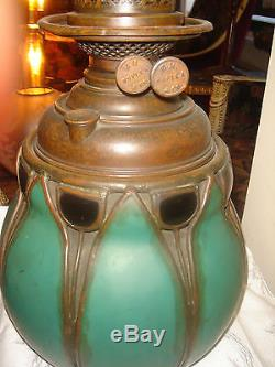 ANTIQUE TIFFANY QUALITY STAINED GLASS BRONZE OIL LAMP With MILLER BURNER