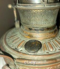 ANTIQUE VICTORIAN BRADLEY & HUBBARD HANGING PARLOR OIL LAMP Original Chains