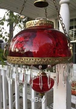 ANTIQUE VICTORIAN HANGING OIL PARLOR LAMP excellent condition