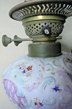 ANTIQUE VICTORIAN PORCELAIN FIGURAL milkmaid DAIRY COW OLD OIL LAMP REPAIR SPARE