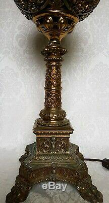 ANTIQUE VICTORIAN ROCHESTER ABCO KERO OIL PARLOR BRONZE LAMP with CRANBERRY SHADE