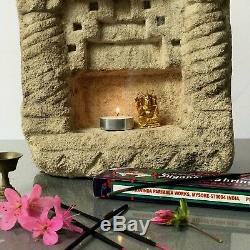 ANTIQUE/VINTAGE INDIAN SANDSTONE NICHE FOR WALL MOUNTED OIL OR GHEE LAMP. 19th c
