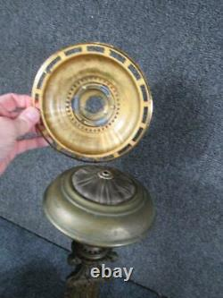 ANTIQUE ornate 19THc. BRONZE signed CORNELIUS ASTRAL LAMP with ENGRAVED SHADE
