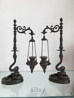ANTONIO PANDIANI Bronze Snake Figural Incense Burner Roman Oil Lamp Sculpture