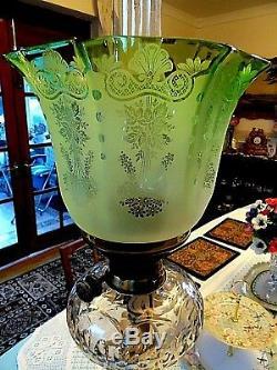 A Beautiful Etch Emerald Green Victorian Twin Duplex Oil Lamp Shade