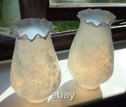 A Rare Pair Of Opaline Embossed Antique Oil Lamp Shades