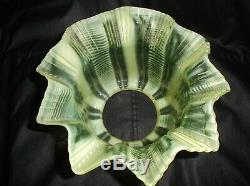 A Victorian, Duplex, 4 fit, Vaseline glass oil lamp shade