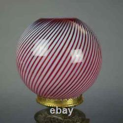 Aesthetic Silver & Gilt Metal Oil Lamp, Cranberry Swirl Glass Shade, circa 1870