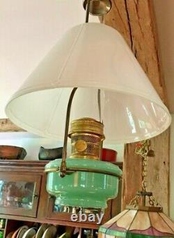 Aladdin Lamp No. B-201 with 716 Opal Glass Shade, 0151-R Green Moonstone Font