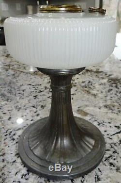 Aladdin QUEEN White Moonstone Glass Kerosene Oil Lamp Glass Vtg Antique