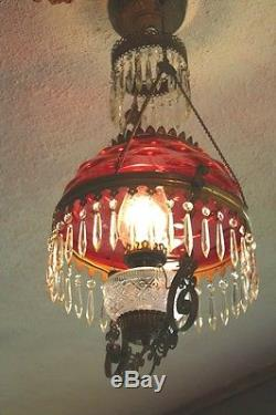 American Victorian Cranberry Hobnail Shade Antique Hanging Oil Lamp Chandelier