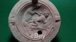 Ancient Erotic Oil Lamp Of Cleopatra Ex. Rare Roman 100 Bc-100 Ad