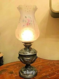Anique German Kerosene, oil Lamp with AMAZING GLASS SHADE H. 51 cm