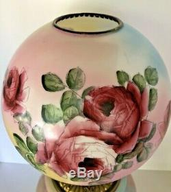 AntiqueGONE WITH THE WIND PARLOR BANQUET LAMP (GWTW)-HP ROSESOil/Kerosene