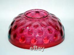 Antique 14 Cranberry Bullseye Pattern Victorian Hanging Oil Lamp Shade