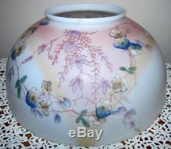 Antique 14 Hanging Oil Lamp Shade Opal White Glass Blue Floral Motif 6 Top Rim