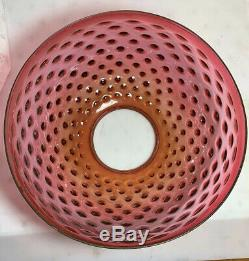 Antique 14 Inch Cranberry hobnail hanging library parlor lamp oil lamp shade