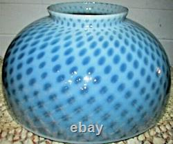 Antique 14 Opalescent Blue Coin Spot Kerosene Oil Hanging Lamp Dome Shade Optic