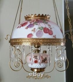 Antique 1800's Victorian Hanging Converted Oil Lamp Electric WithHanging Crystals