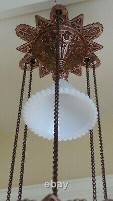 Antique (1870s) Iron Horse Hanging Lamp (Restored)