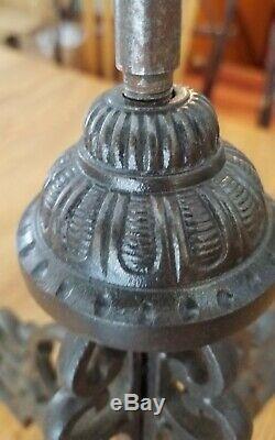 Antique 1871 cast iron chandelier four arm center piece oil lamp
