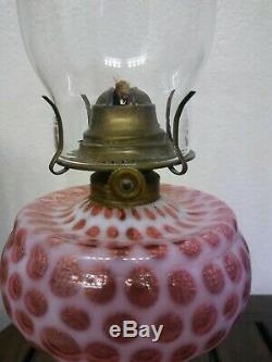 Antique 1880's Hobbs Brockunier Cranberry Opalescent Coin Dot Kerosene Oil Lamp