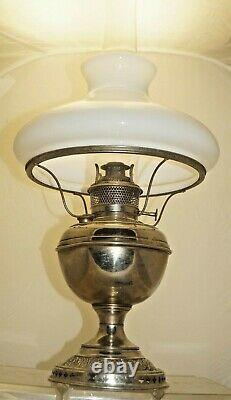 Antique 1890s ORNATE Bradley Hubbard Oil Lamp With Milk Glass Shade