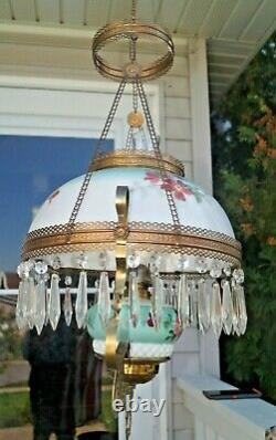 Antique 1890s Victorian Painted Font & Shade Hanging Parlor Oil Lamp & Retractor