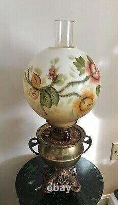 Antique 1895 E. Miller Juno Lamp Brass Victorian GWTW Banquet Oil Table Lamp