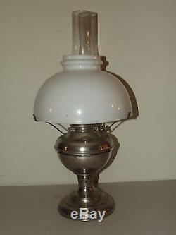 Antique 1895 Edward Miller Kerosene Oil GWTW Table Lamp with Milk Glass Shade