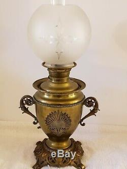 Antique 1895 Miller Juno Lamp Brass Victorian GWTW Banquet Oil Table Lamp 23