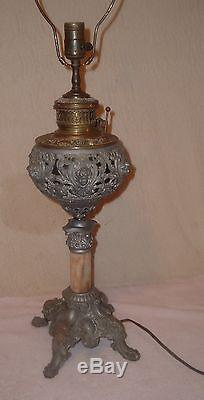 Antique 1897 Piano/Organ/Banquet Lamp Ornate Baby Faces Electrified Oil/Kerosene