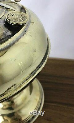 Antique 1897 Vtg B&H Nickel & Brass Oil Lamp Lantern Kerosene Parlor Hurricane