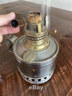 Antique 1900'S MILLER HOME FINGER Oil LAMP & CHIMNEY