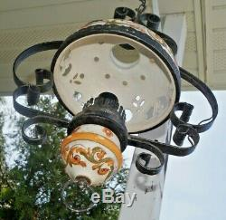 Antique 1910s Ornate Metal Electric Hanging Lamp With Hand Painted Ceramic Shade