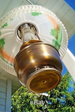 Antique 1920s Aladdin 12 Hand Painted Glass & Bronze Kerosene Oil Hanging Lamp