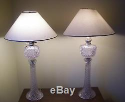 Antique 19th C. Exquisite Pair Of Large Diamond Crystal Oil Lamps Each 12 lbs