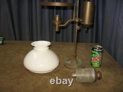 Antique 19th C. Student Oil Lamp CIVIL War Era 1863-70 Hinrichs Orig For Restore