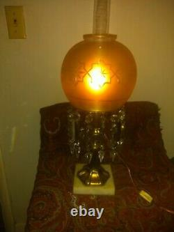 Antique 19th Century Astral Solar Oil Lamp Engraved Shade & Prisms