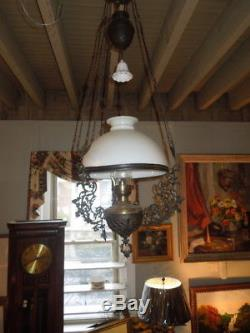 Antique, 19thc, Hanging Oil Lamp, Original, Milk Glass Shade