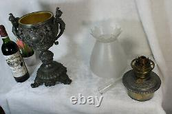 Antique 19thc Marked Bronze Carytid lions oil lamp Glass etched shade devil head