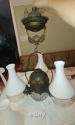 Antique 19thc Triple Light Angle Lamp Chandelier Ceiling Fixture Oil Kerosene