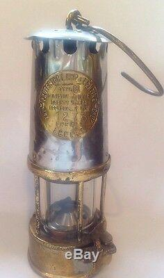 Antique 9 Miners Lamp Lantern Protector Lighting Eccles Brass Glass Oil