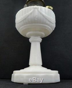 Antique ALADDIN TALL WHITE LINCOLN DRAPE OIL LAMP, Burner, Chimney. 27H. 1946