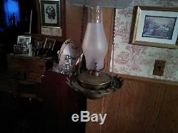 Antique Acid Etched Hanging Hall Oil Lamp Complete with Font