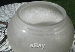 Antique Acid Etched Oil, Kerosene Lamp Shade Wading Birds Herons Sandwich Glass
