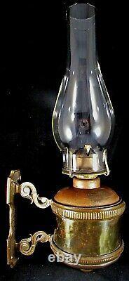 Antique Adams & Westlake Chicago Hammered Brass Railroad Bracket Oil / Kero Lamp