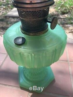 Antique Aladdin Jadeite Hurricane Oil Lamp Model B