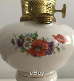 Antique Aladdin Oil Lamp Model B Porcelain with Flowers and Gold Edging